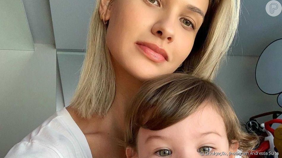 Andressa Suita reagiu ao filmar o filho mais velho, Gabriel, subindo em moto do pai, Gusttavo Lima: 'Mãe infarta!'