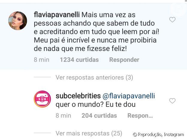 Flávia Pavanelli sai em defesa do pai após internautas fazerem campanha por reconciliação com Kevinho