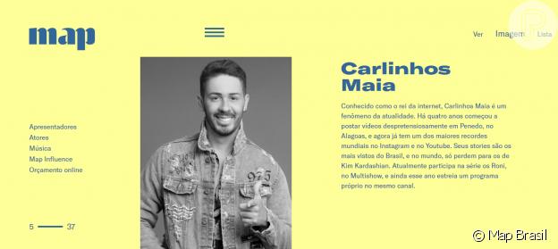 Carlinhos Maia já aparece como um dos agenciados da Map Brasil