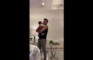 Treinando? Graciele Lacerda filma Zezé Di Camargo com bebê. Vídeo!