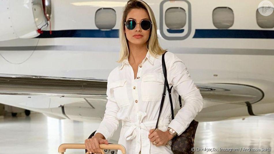 Andressa Suita usa look grifado em show do marido, Gusttavo Lima, em Fortaleza, em 9 de junho de 2019