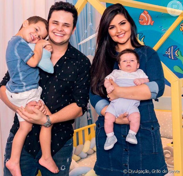 Matheus Aleixo e a mulher, Paula Aires, apresentaram o novo quarto dos filhos