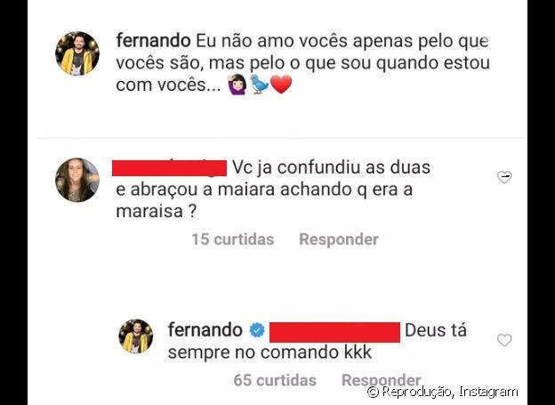 Fernando Zor revela a fã se já confundiu Maiara e Maraísa