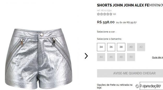 Short da grife John John custa R$ 598 no site da marca