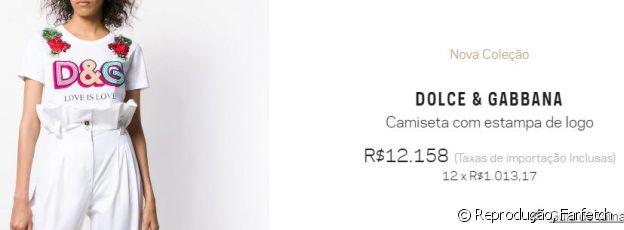 A camiseta Dolce & Gabbana é verdida por R$ 12.158 em uma multimarcas