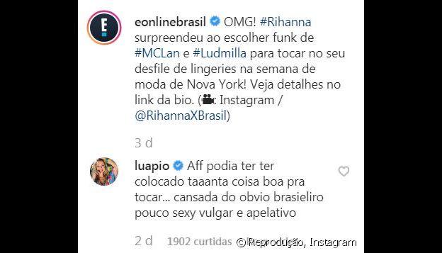 Luana Piovani critica escolha de música de Ludmilla por Rihanna