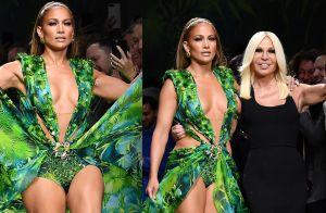 Jennifer Lopez desfila releitura de vestido icônico usado por ela em 2000. Fotos
