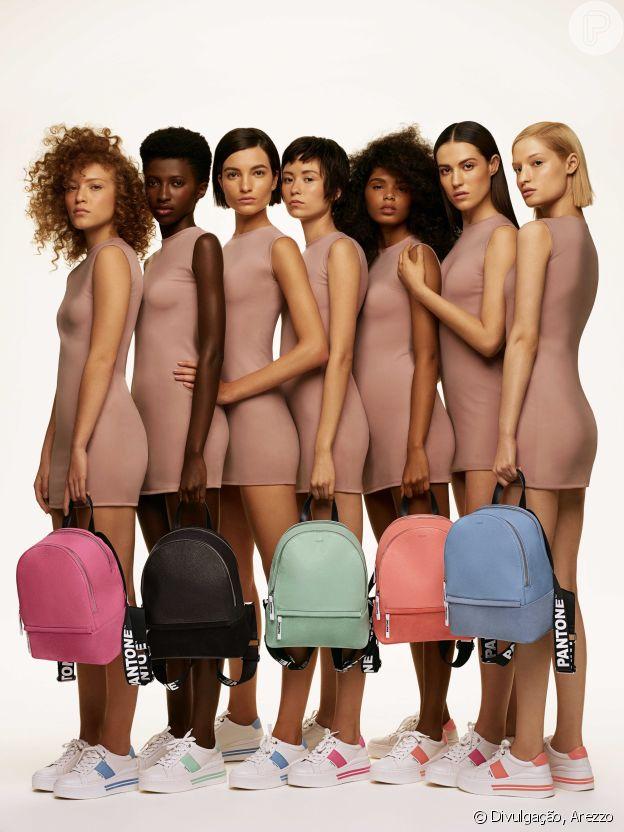 Em parceria com a Pantone, a Arezzo criou cores inéditas que também aparecem nas bolsas e mochilas da marca