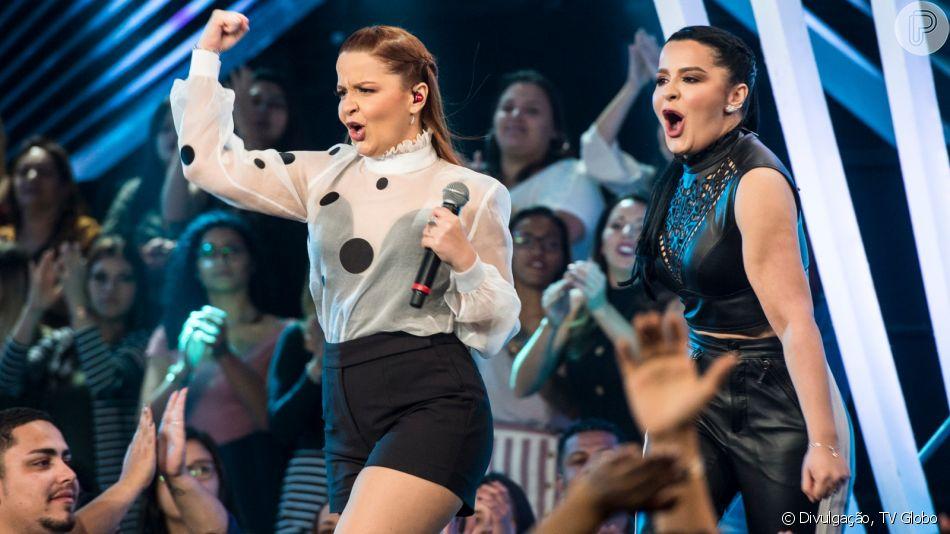 Maiara e Maraisa rebolam e exibem passos de coreografia no 'SóTocaTop' neste sábado, dia 26 de outubro de 2019