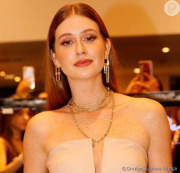 Marina Ruy Barbosa aposta em look nude com mix de colar para evento nesta terça-feira, dia 12 de novembro de 2019
