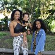 Negra Li e os filhos, Sofia e Noah, vão ao aniversário de Zoe