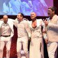 Xuxa, o namorado Junno Andrade, e Celso Zucatelli se divertiram com show de Claudia Leitte em evento de Natal