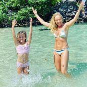 Angélica exibe foto com filha, Eva, na praia e ostenta beachwear estiloso. Veja!
