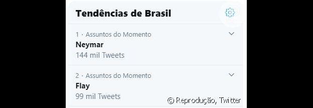 Os nomes de Neymar e Flaslane nos assuntos mais comentados do Twitter