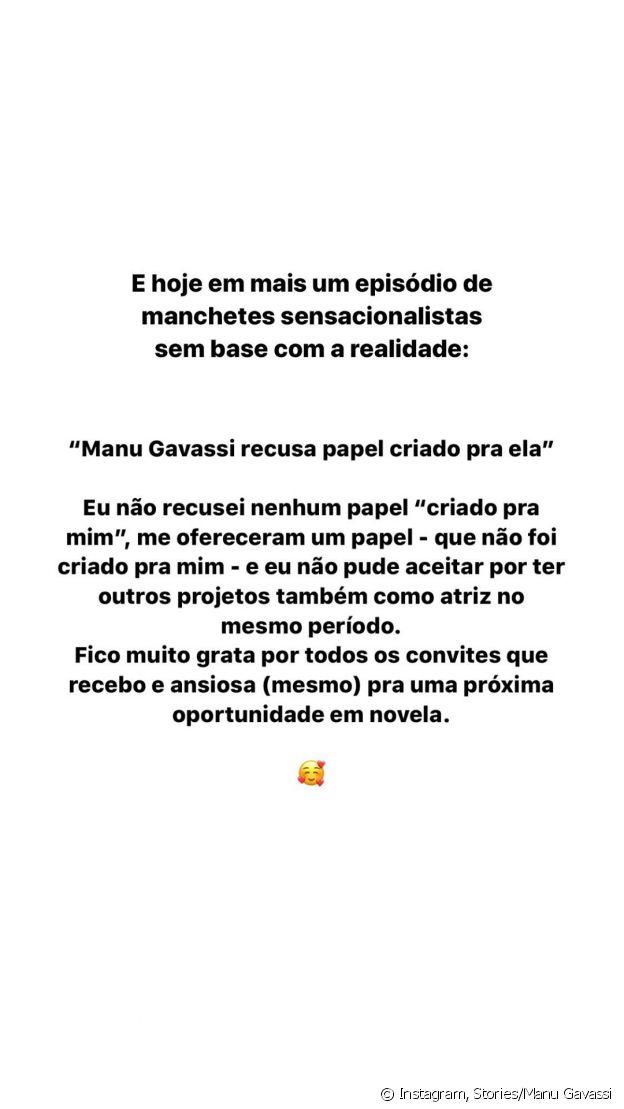 Manu Gavassi explica negativa para novela 'Salve-se Quem Puder' em post