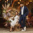 Lorena Carvalho usou vestido elegante e romântico com detalhes em renda para casamento com Lucas Lucco
