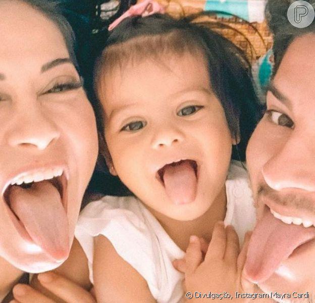 Mayra Cardi e Arthur Aguiar comemoraram o aniversário da filha, Sophia, neste domingo, 18 de outubro de 2020