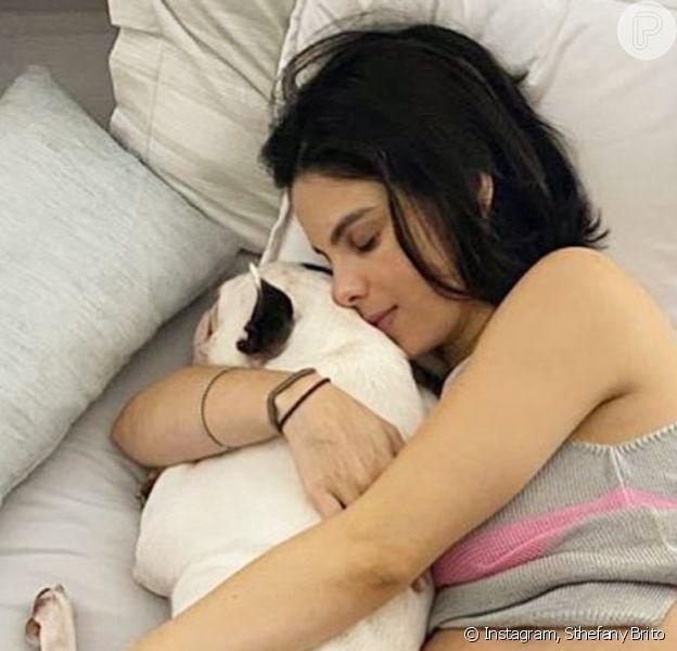Sthefany Brito exibe barriga de gravidez em foto com pet