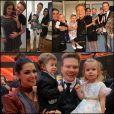 Montagem com fotos da final de The Voice com Thais Fersoza, Teló e filhos