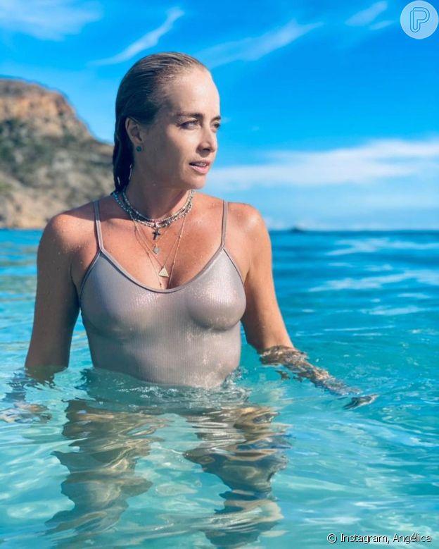 Angélica usa look praia metalizado e celebridades destacam beleza da apresentadora. Veja!