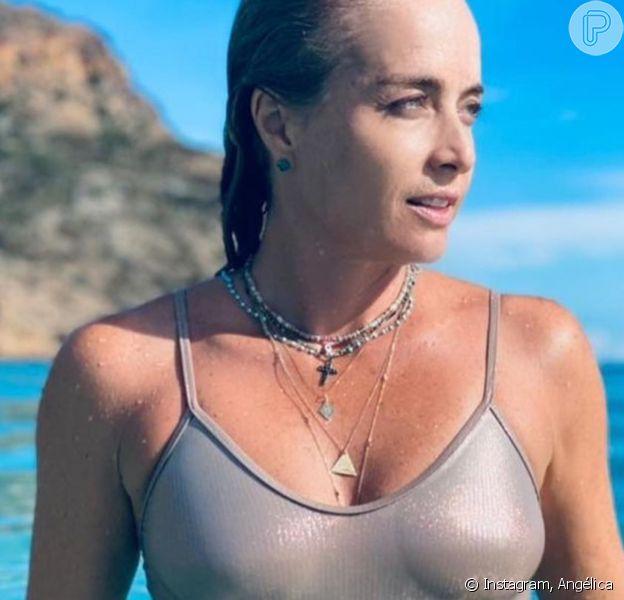 Angélica posa com maiô metalizado e beleza da apresentadora agita famosos