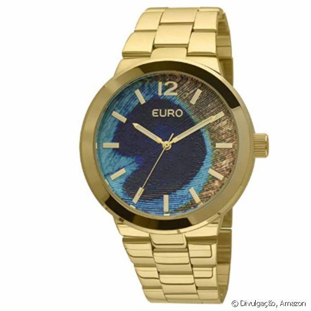 Relógio Peacock Dourado, da Euro