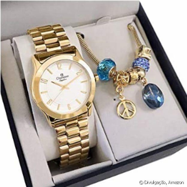Kit Relógio Dourado com Semijoia, da Champion