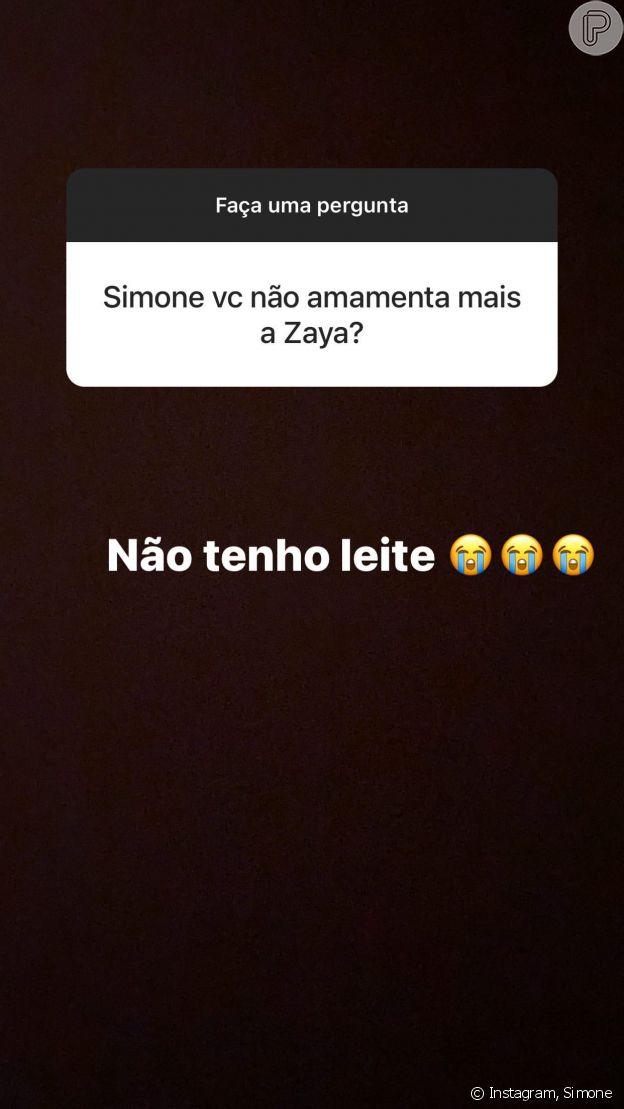 Simone diz não ter mais leite para amamentar Zaya