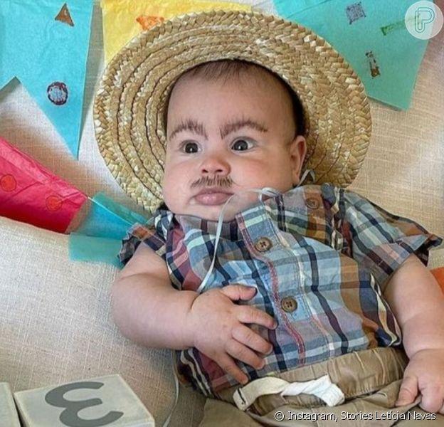 Letícia Navas vestiu o filho, Nathan, de caipira em seu 4º mesversário: 'Chico Bento'