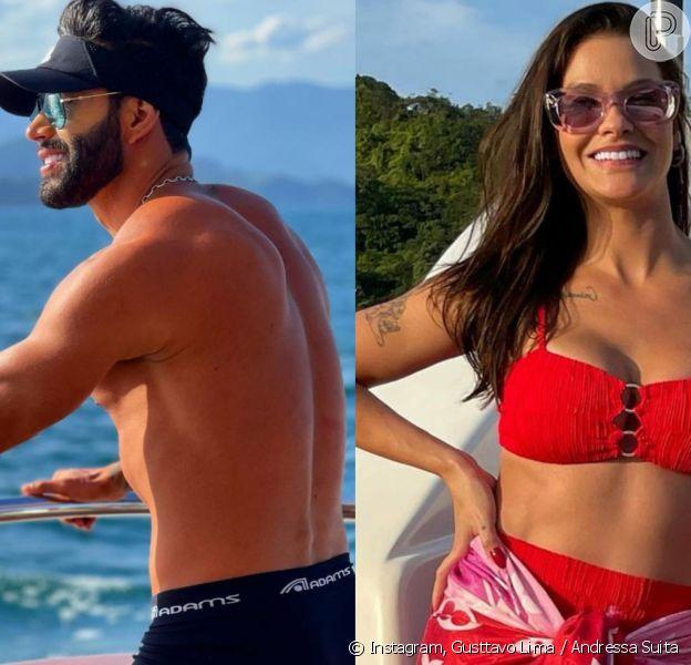 Gusttavo Lima e Andressa Suita foram flagrados juntos em um passeio de jet ski