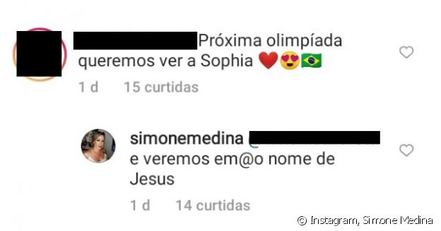 Simone afirma torcer para a filha mais nova, Sophia Medina