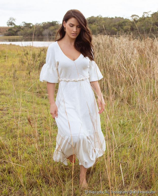 Andressa Suita usa nap dress branco