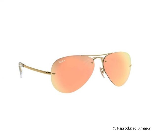 Óculos de sol lente espelhada laranja, Ray-Ban