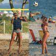 Romário e a namorada, Dixie Pratt, passaram a tarde na praia da Barra da Tijuca nesta segunda-feira, 19 de janeiro de 2015