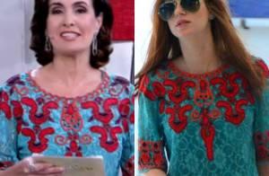 f108f77e1 Fátima Bernardes repete blusa de Marina Ruy Barbosa e comenta: 'Não sabia'