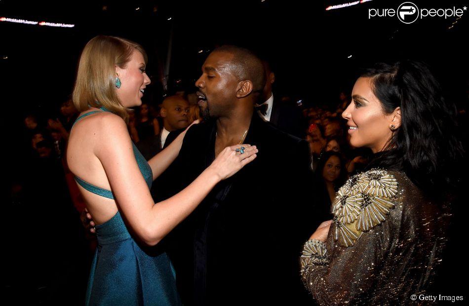 Taylor Swift e Kanye West selam a paz no Grammy 2015 depois que o rapper invadiu o palco durante o discurso da cantora no VMA 2009, em 8 de fevereiro de 2015