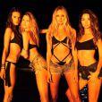Com as amigas, as também angels Bethani Prinsloo,  Candice Swanepoel  e Lily Aldridge