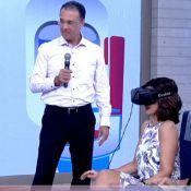 Fátima Bernardes faz simulação de voo de avião no programa 'Encontro': 'Zonza'