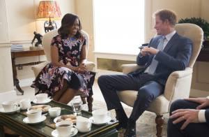 Príncipe Harry recebe Michelle Obama para um chá e elogia as filhas: 'Encantado'