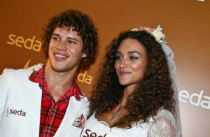 Débora Nascimento, de noiva, vai à festa junina com José Loreto, na Paraíba