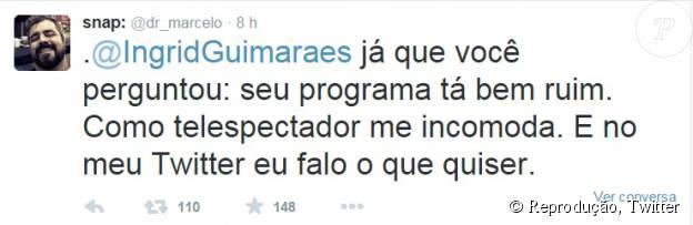 Marcelo Arantes, ex-participante do 'BBB8', bateu boca com Ingrid Guimarães por conta da atuação da atriz na série 'Chapa Branca'