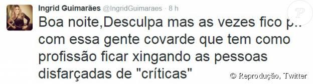 Ingrid Guimarães apagou as mensagens onde batia boca com Marcelo Arantes, mas postou uma outra onde pedia desculpas aos seus seguidores