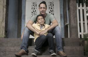Rainer Cadete, o Visky de 'Verdades Secretas', posa com filho, Pietro, em ensaio
