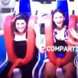Bruna Marquezine, Fernanda Paes Leme e Julia Faria se divertem em brinquedo radical no Rock in Rio