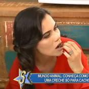 Daniela Albuquerque experimenta comida de cachorro em programa de TV: 'Gostoso'
