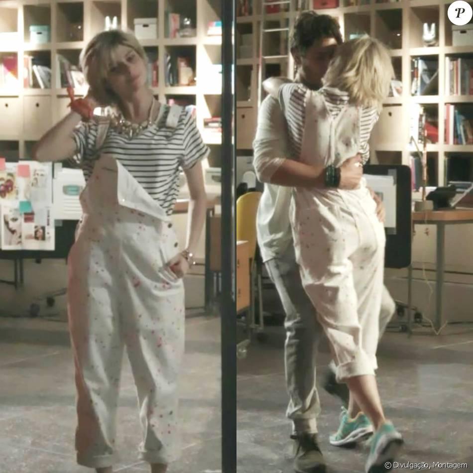 A blusa listrada, dessa vez combinada com o macacão jeans branco, deixa o  look bem mais casual 76bede9665