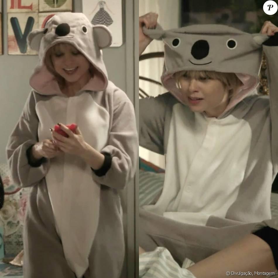 O pijama de coala usado pela personagem, após levar um fora de Rodrigo (Daniel Rocha), pode ser encontrado na Amazon a partir de R$ 93. 'Não tenho namorado mas tenho o pijama mais fofo e confortável do mundo!' escreveu Lu (Julianne Trevisol) em seu instagram @visudalu