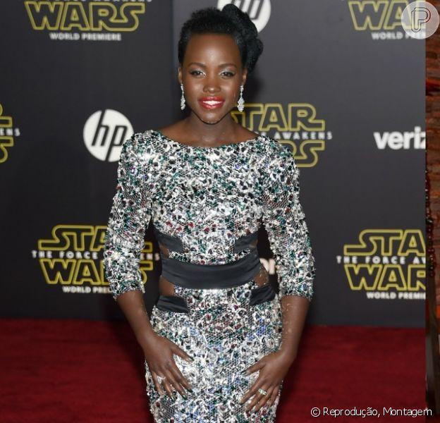 A atriz Lupita Nyong'o tem chamado atenção por seus looks acertivos e elegantes na divulgação do filme 'Star Wars: O Despertar da Força'