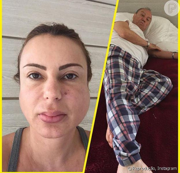 Marilene Saad e Stênio Garcia estão doentes e a mulher do ator, com caxumba, compartilhou com seus seguidores a imagem do casal abatido em 20 de dezembro de 2015