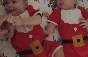 Gêmeos de Luana Piovani, Liz e Bem aparecem em foto com roupa de Papai Noel
